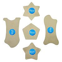 Набор металлических карт AIDA C9 - 5 in 1 для разборки (шестиугольник, звезда пятиугольная и шестиугольная, 2 фигурные карты)
