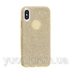 Чехол силиконовый для APPLE iPhone X Twins золотой