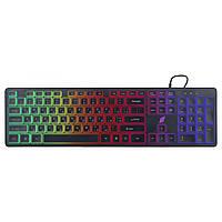Проводная клавиатура ERGO KB-630 с подсветкой ENG/RUS/UKR игровая мембранная многоцветная для геймеров