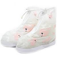 Детские резиновые бахилы на обувь от дождя Lesko Кит розовый размер XXL на змейке для девочек