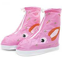 Детские резиновые бахилы Lesko на обувь от дождя Кролик розовый размер S многоразовые от грязи снега слякоти