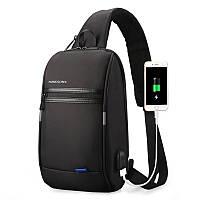 """Рюкзак на одно плечо Kingsons KS3174W Black 10.1"""" с USB зарядкой для повседневного ношения отдыха путешествий"""
