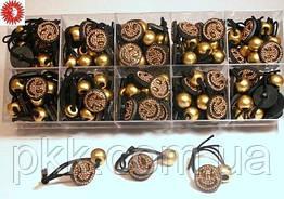 Резинка для волос чёрная двойная тонкая (брошка-смайлик с золотым шаром) RК-10-100G