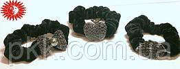 Резинка для волос чёрная бархатная с камнями RК-17-24G
