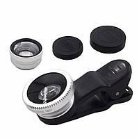 Объектив Primo Lens Silver 3 в 1 для смартфонов Macro съемка рыбий глаз объектив-конвертер