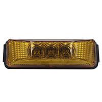Фонарь габаритний LED жовтий FG-302 прямокутний 0.32W, 12/24V, 3 діоди (BD-003Y03SNC-Y)