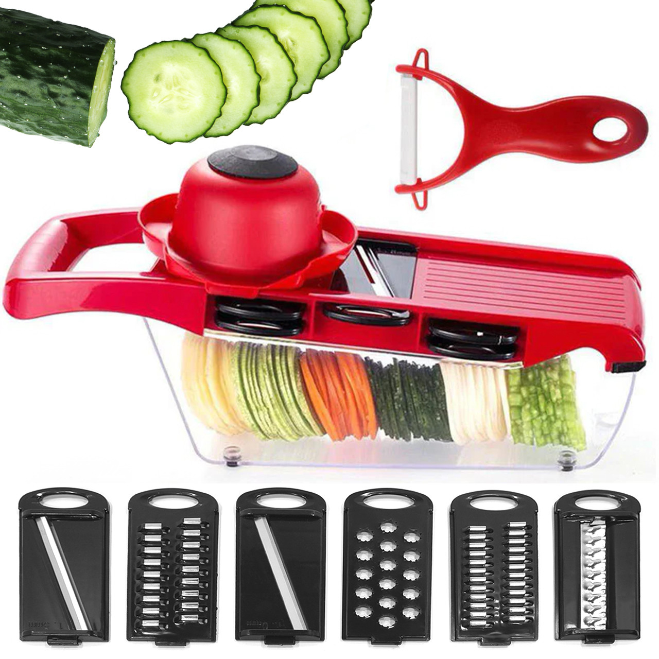 Овощерезка терка Mandoline Slicer 6 в 1 с контейнером для шинковки овощей фруктов