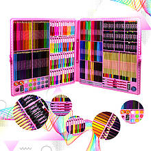 Набор для детского творчества и рисования Lesko Super Mega Art Set 288 предметов Pink художественный
