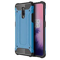 Противоударный чехол Shield для смартфона OnePlus 7 Blue защитная накладка бампер от падений сколов