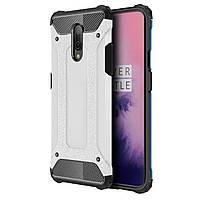 Противоударный чехол Shield для смартфона OnePlus 7 Silver защитная накладка бампер от падений сколов