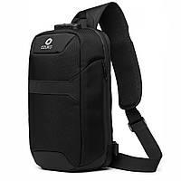 Рюкзак на одно плечо Ozuko 9270 Black однолямочный с USB портом замком влагозащищенная ткань