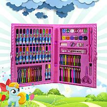 Большой набор для детского творчества и рисования Painting Set 86 предметов Pink детский в чемоданчике