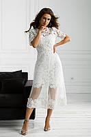 Платье на роспись из гипюровой ткани миди с прозрачной юбкой, 00070 (Белый), Размер 42 (S)