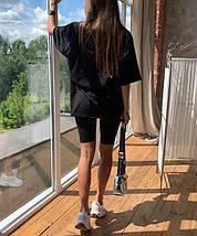 Костюм женский с футболкой и велосипедками трикотаж черный, фото 3