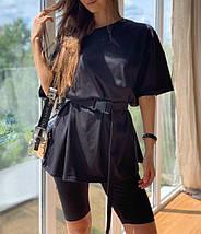 Костюм женский с велосипедками и футболкой лавандовый черный бежевый трикотажный повседневный, фото 3