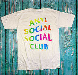 Футболка белая Anti Social Social Club / Rainbow