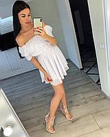 Шифоновое летнее платье с открытыми плечами и рюшами Белый, 42-44 ,  44-46