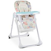 Раскладной стульчик для кормления «Bambi» M 3890 Fusion Arctic для  мальчика или девочки  голубой с бежевым