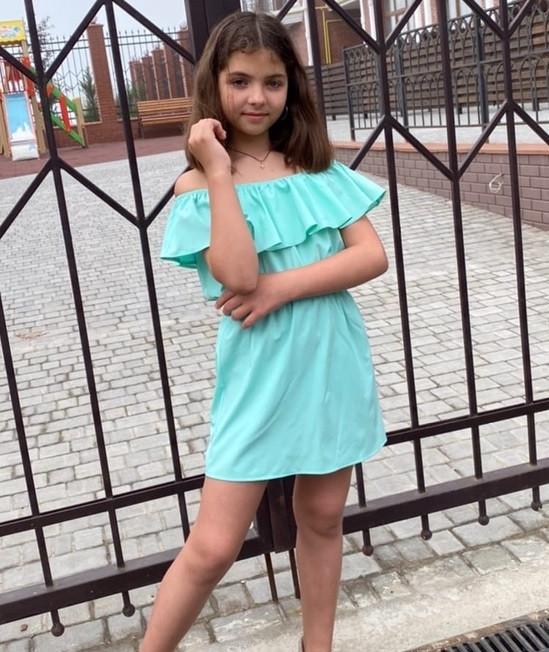 Детский сарафан с воланом на плечах 122-140см