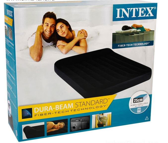 Надувной матрас Двухместный Интекс Intex 64150, 152 x 203 x 25 см, с встроенным электронасосом.