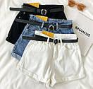 Джинсовые шорты с высокой талией и поясом, фото 8