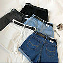 Джинсовые шорты с высокой талией и поясом, фото 9
