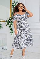 Красивое женское платье из штапеля в увеличенных размерах