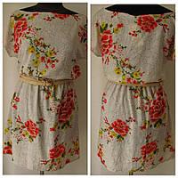 Красивое летнее платье, на талии резинка. Талию подчеркивает поясок , р.46 код 1539М