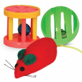 Набор игрушек для кошек мышь с шаром и погремушка с барабанчиком