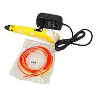 3D ручка с LCD дисплеем V2/D2 12B/2А, сопло 0.6 мм, темп. 160-235 гр С, контроль скорости, ABS/PLA 1.75 мм жёлтая
