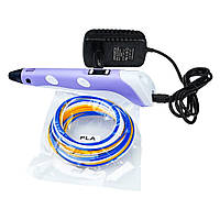 3D ручка с LCD дисплеем V2/D2 12B/2А, сопло 0.6 мм, темп. 160-235 гр С, контроль скорости, ABS/PLA 1.75 мм фиолетовая