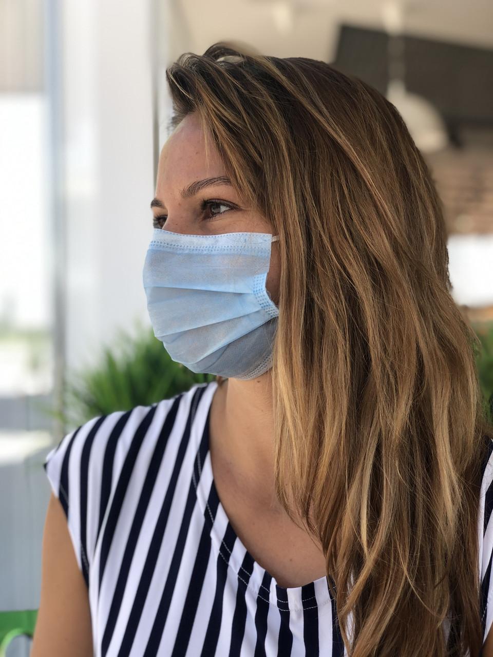 Медицинские маски одноразовые 1000 шт. с фиксатором