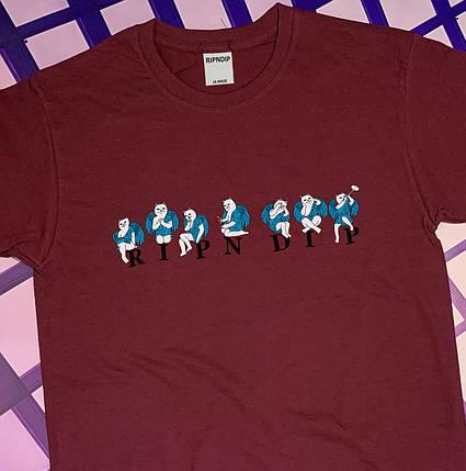 Бордова футболка RipNDip • Бірки ориг, фото 2