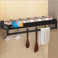 Полиця для кухні. Полиця до ванної Полку металева Полку органайзер Полиця для кухонних приладів Чорна 50 см