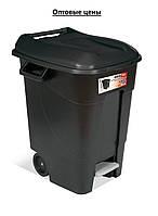 Бак для мусора EcoTayg 100л с педалью ,с колесами,60*56,8*77см (Испания)с крышкой и ручками, (441073)