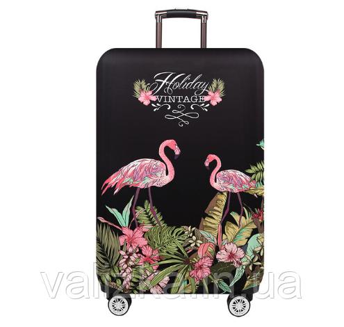 Чохол для середнього валізи з принтом фламінго і рожевими квітами