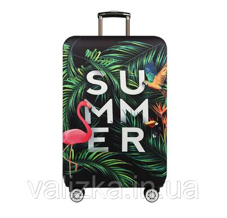 Чохол для середнього валізи чорний тропіки - фламінго, фото 2