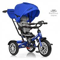 Детский велосипед трехколесный для мальчика TURВOТRIKЕ M 4057-10 синий музыка фары сиденье 360 градусов