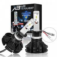 Комплект LED автоламп X3 H4 50W 6000K 6000lm с радиатором и светофильтрами, фото 1