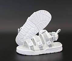 Спортивные сандалии New Balance бело-серого цвета на липучках (Нью Баланс летние женские и мужские размеры)