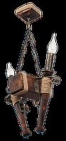 Деревянная люстра в стиле Лофт факел на 2 свечи