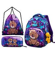 Рюкзак с пеналом и сумкой для обуви в 1-3 класс для девочки Winner One 1707 34*25*16 см