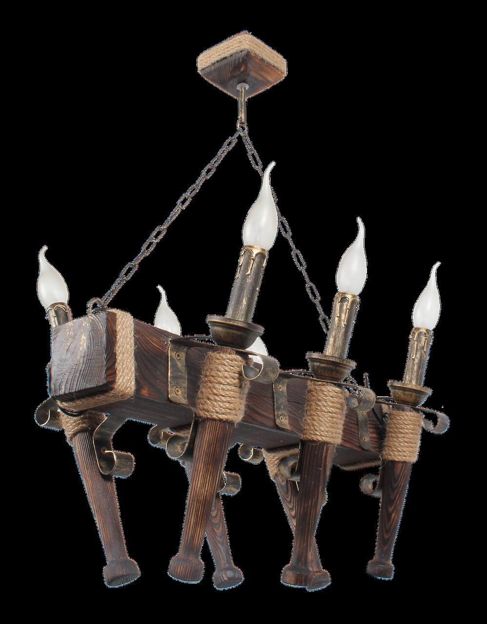 Люстра под старину на 6 факелов из натурального дерева 160726