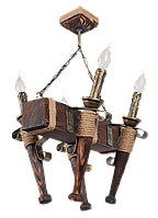Люстра в стиле Лофт из натурального дерева на 4 факела