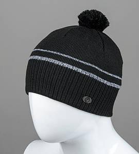 Шапка мужская с помпоном двухцветная (S2004), Черный+Серый