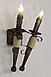 Бра факел из натурального дерева на 2 свечи 120722, фото 3