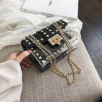 Женская летняя прозрачная сумка с заклепками на цепочке черная, фото 1