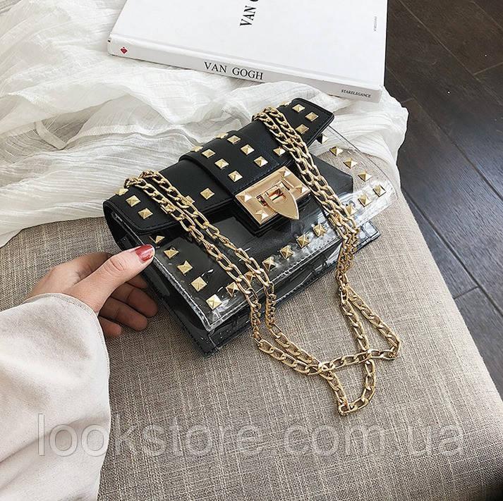 Женская летняя прозрачная сумка с заклепками на цепочке черная