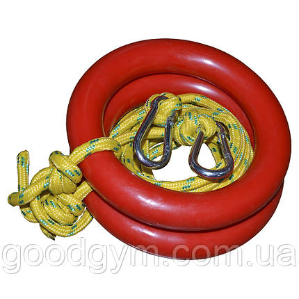 Кольца гимнастические InterAtletika SТ 020.2-К с карабинами, фото 2