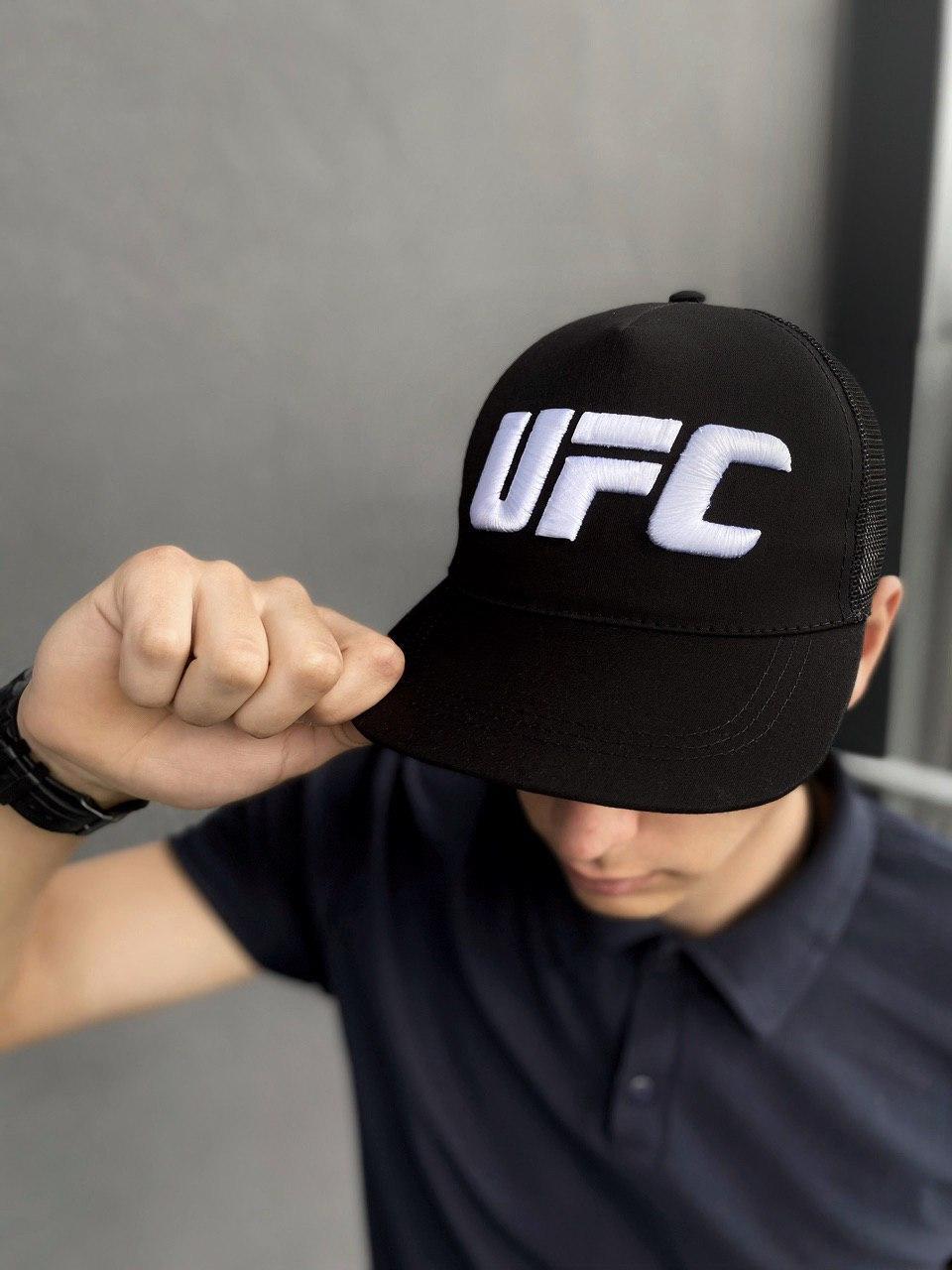 Кепка UFC Reebok мужская   женская рибок черная big white logo